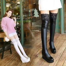 New Womens high top Elegant Knee Increase wedge platform lace Sexy leather Boots