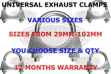 UNIVERSAL EXHAUST CLAMPS AUTO U BOLT TV AERIAL CLAMPS PIPE FIXING 28mm - 102mm