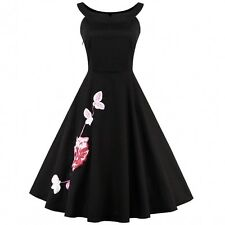 Vintage Women Swing Floral Embroidery Pinup 50s Rockabilly Evening Party Dress