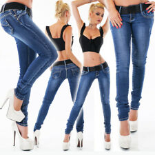 Womens Skinny Stretch Jeans Sexy Low Rise Hipster New Blue Washed Sz 8 10 12 14