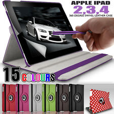 Apple iPad 4 3 2 Funky PU Leather 360 Rotating Stand Folding Swivel Case Cover