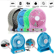 Outdoor Portable Rechargeable Battery LED Fan 3 Speed Wind Mute USB Charger BU