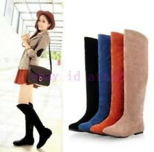 New Women's Slouch Knee High Boot Faux Suede Round Toe Pull On Flat Riding Shoes