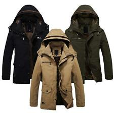 Men Military Parka Outerwear Warm Long Coat Faux Fur lined Hooded Winter Jacket