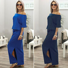 Fashion Maxi Womens Slit Dress Off The Shoulder Casual Banquet Party Tunic Dress