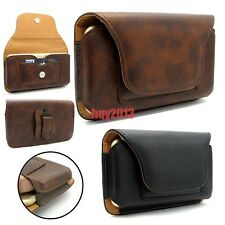 New Premium Leather Elastic Edge Card Pocket Belt Clip Case Cover for Cell Phone