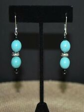 Blue Turquoise with Antique Silver Earrings