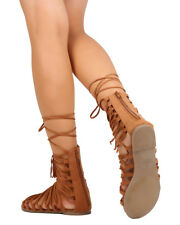 New Women Liliana Lively-12 Faux Suede Strappy Gilly Tie Gladiator Sandal