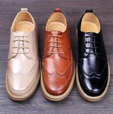 Newly Casual Chic Mens Round Toe Leather Lace Up Platform Brogues Dress Shoes#SZ