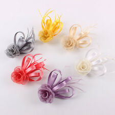 Silk Sinamay Flower Feather Hair Clip Brooch Fascinator Corsage Pin Hairband New