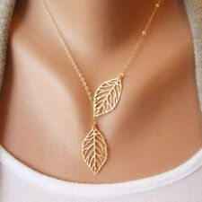 Celebrity Simple Elegant Hallow leaves pendant Charm Chain necklace Gold Silver