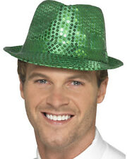 Fashionable Dance Green Fedora Trilby Hat With Sequins Costume Accessory