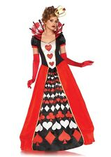 Deluxe Queen of Hearts Adult Womens Costume, Red/Black, Leg Avenue