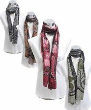 Reversable Floral & Leaf Pattern Acrylic Sheer Scarf (LSA2958)