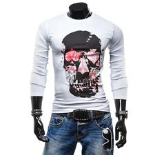 New Mens Fashion Slim Fit Long Sleeve Sport Tee Shirts Skull Casual T-Shirt Tops