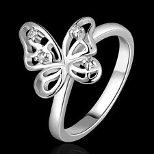 New Cute Fashion 18K Gold Plated CZ Crystal Butterfly Wedding Engagement Ring