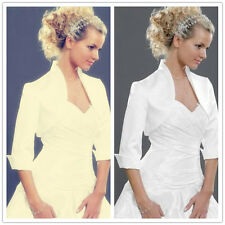 Satin Shrug Wedding Jacket Stole Bolero Evening Dress 3/4 Sleeves customize A