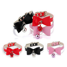 3 Colors PU Leather Bowknot Bell Cat Dog Necklace Puppy Collar Pet Supplies Home