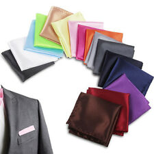 Men Satin Solid Plain Color Handkerchief Hanky Pocket Square Wedding Party Suit
