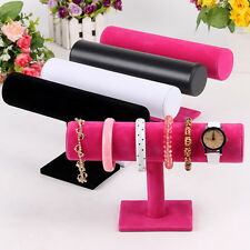 Durable Velvet Bangle Bracelet Jewelry Watch T-Bar Display Stand Holder Rack FN
