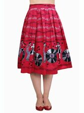Brand New Kitsch 50s Vintage Style Red Jive Record Print Swing Skirt Rockabilly