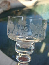 Vtg Hand Blown Cut Etched Crystal 2 Tall Sherry Cordial Glasses. Candle Holders