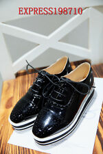 Womens Lace Up Fashion Brogues Shoes Oxford Creeper Platform Wedge Heels Shoes