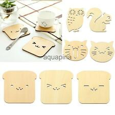 Cute Owl Squirrel Cat Dog Coaster Table Decoration Cup Wooden Insulation Mat Pad