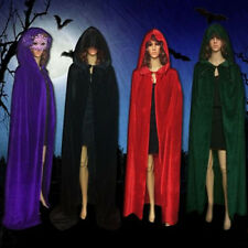 UK velvet hooded cloak wedding cape Halloween Pagan Witch wicca robe coat S-XL