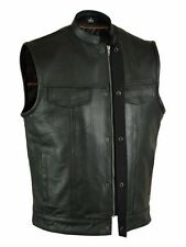 SOA Mens Motorcycle Biker Leather Vest,W/SNAP & ZIPPER , Gun Pocket