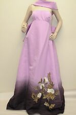 $8690 New Oscar de la Renta Purple Dip Dyed Silk Faille Gown w Bow DRESS 8 RARE