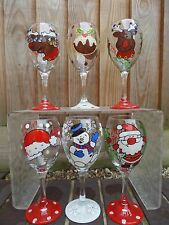 HAND PAINTED PERSONALISED WINE GLASS GIFT CHRISTMAS PRESENT, SECRET SANTA