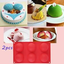 2pcs 6 Half Ball Round Chocolate Cake Candy Soap Mold Flexible Silicone Mould HC