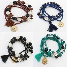 Girl Stylish Bohemian Multilayer Mixed Acrylic Beads Rhinestone Elastic Bracelet