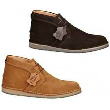 Hush Puppies CURTIS Mens Suede Leather Vintage Casual Comfy Wide Desert Boots
