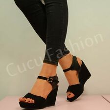 BRAND NEW WOMENS HIGH WEDGES LADIES PLATFORMS ANKLE STRAP BLACK SHOES SIZE UK