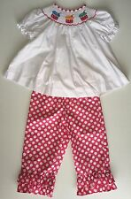 Kids Clothing Girls Pink And White Cupcakes Smocked Set 6 Months, 2T