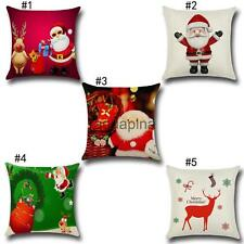 Christmas Gift Home Decor Cushion Cover Square Linen Pillow Throw Case Sofa 17""