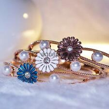 Rose Gold Plated Daisy Pearl Bangle Bracelet Cuff Girl Women Jewelry 3 Colors