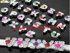 A-Z Colorful Heart rhinestone Slide Letters Charm fit 8mm pet collar wrsitband