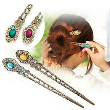Vintage Rhinestone Flower Pendant Hair Stick Antique Charm Hairpin Women xg