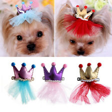 Dog Pet Crown Bowknot Lace Pet Grooming Hair Hairpin Bow Tie Princess Hair Clips