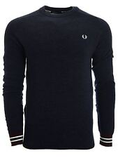 Mens Fred Perry Crew neck Jumper | K8217 | Textured Yarn Pique | 258 | Navy