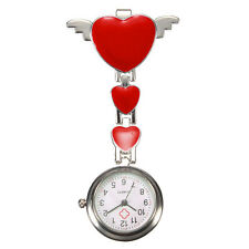 Stainless Steel Nurse Doctor Quartz Fob Watch Clip-on Hanging Brooch Cute Heart