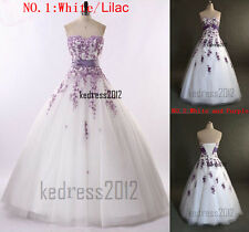 HOT New White/Lilac/Purple Embroidery Bridal Wedding Dress Formal Gown Size 6-18