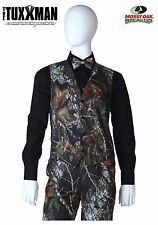 NEW Mens Mossy Oak Camo Tuxedo Vest Tie & Pocket Square Wedding Camouflage Set
