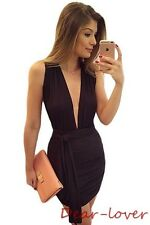 Black Sexy Cross Strap Open Back Deep V-neck Ruched Mini Dress Women Evening LBD