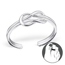 925 Sterling Silver Toe Ring Infinity Knot Adjustable Body Jewellery Rose Gold