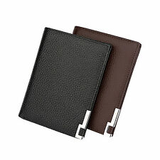 Mens Genuine Leather Wallet Cash ID Credit Card Photo Holder Bifold Clutch Purse