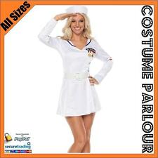 Womens Captains Mate Navy Sailor Military Licensed Fancy Dress Costume All Sizes